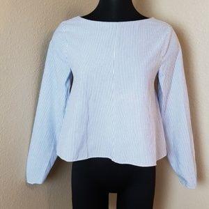 Zara Trafaluc Low Back Blue Striped Blouse